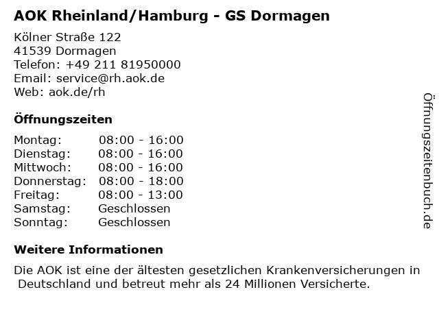 AOK Rheinland/Hamburg - GS Dormagen/ AKTUELL nur mit Termin in Dormagen: Adresse und Öffnungszeiten