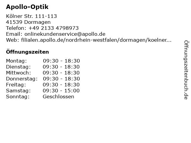 Apollo-Optik in Dormagen: Adresse und Öffnungszeiten