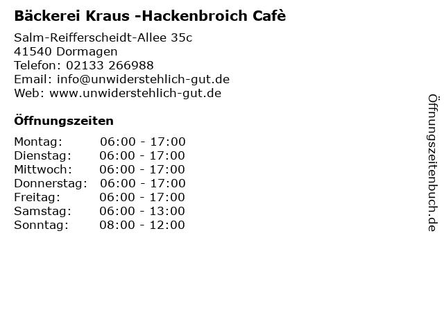 Bäckerei Kraus im Ring-Center in Dormagen: Adresse und Öffnungszeiten