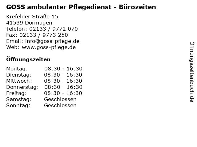 GOSS ambulanter Pflegedienst - Bürozeiten in Dormagen: Adresse und Öffnungszeiten