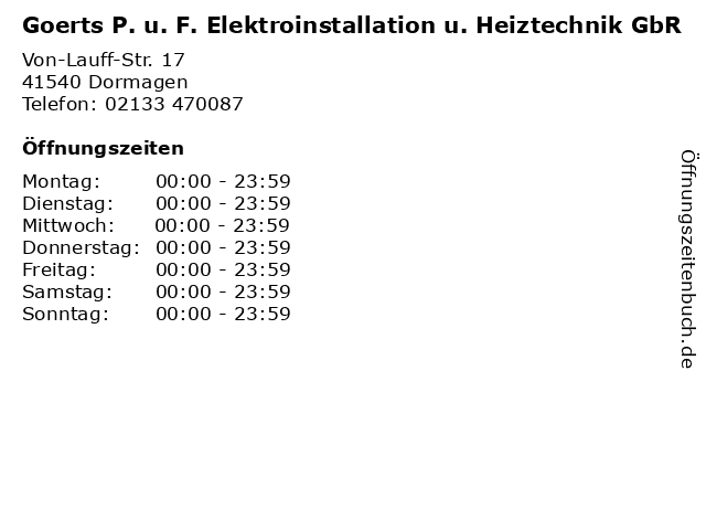 Goerts P. u. F. Elektroinstallation u. Heiztechnik GbR in Dormagen: Adresse und Öffnungszeiten