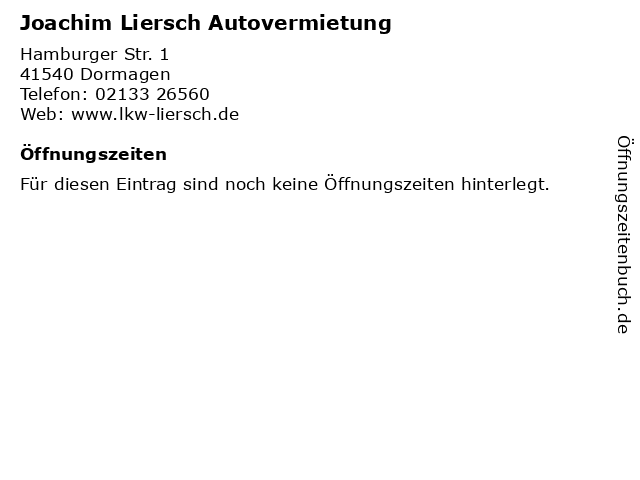 Joachim Liersch Autovermietung in Dormagen: Adresse und Öffnungszeiten