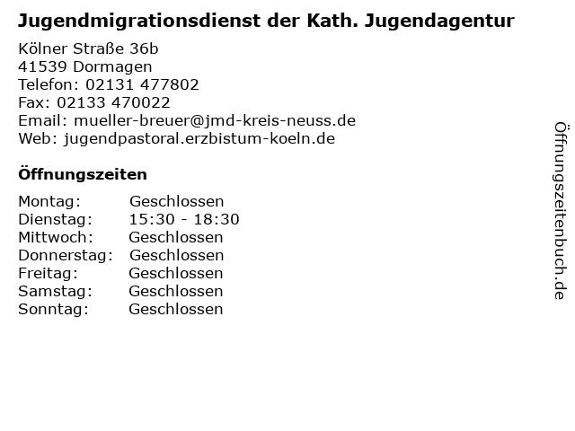 Jugendmigrationsdienst der Kath. Jugendagentur in Dormagen: Adresse und Öffnungszeiten