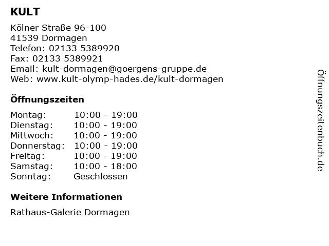 KULT in Dormagen: Adresse und Öffnungszeiten