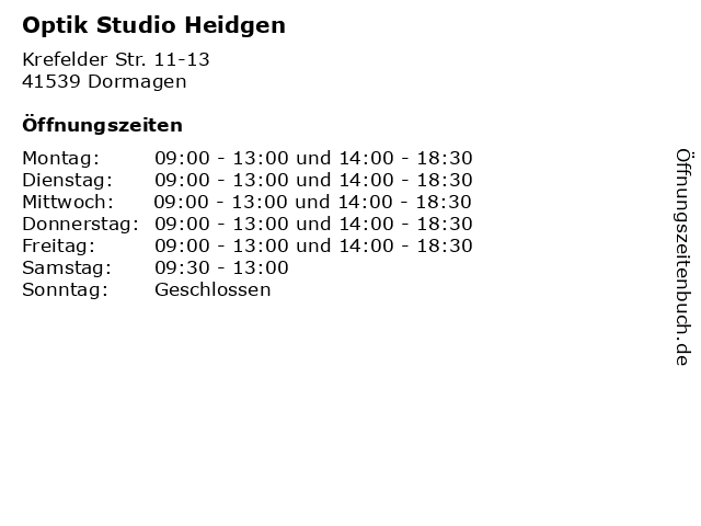 Optik Studio Heidgen in Dormagen: Adresse und Öffnungszeiten