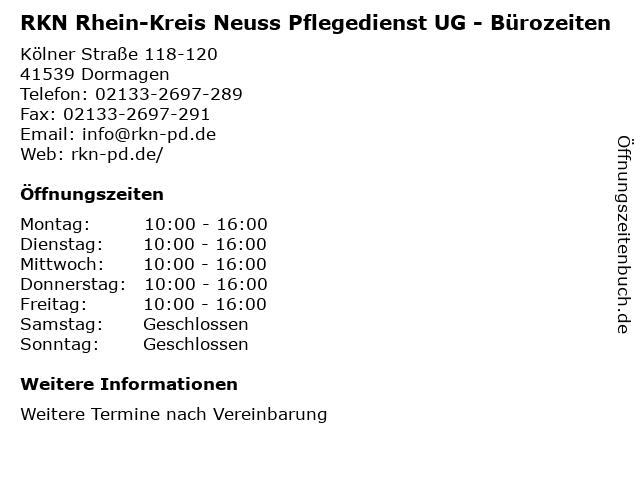 RKN Rhein-Kreis Neuss Pflegedienst UG - Bürozeiten in Dormagen: Adresse und Öffnungszeiten