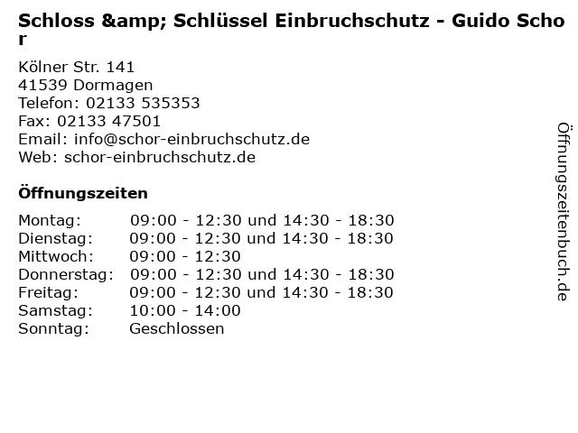 Schloss & Schlüssel Einbruchschutz - Guido Schor in Dormagen: Adresse und Öffnungszeiten