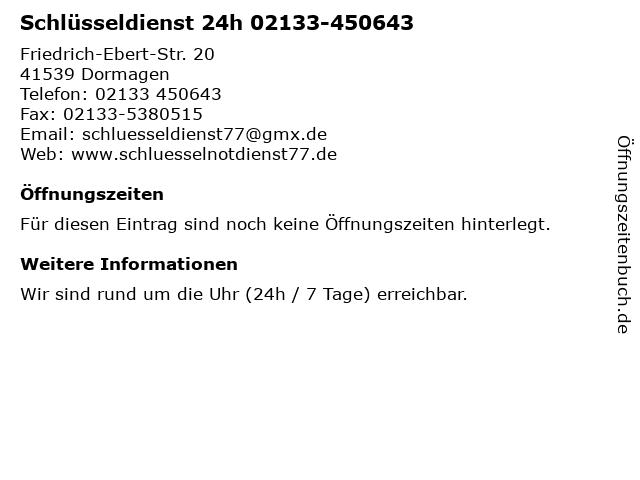 Schlüsseldienst 24h 02133-450643 in Dormagen: Adresse und Öffnungszeiten