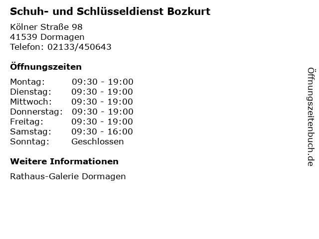 Schuh- und Schlüsseldienst Bozkurt in Dormagen: Adresse und Öffnungszeiten