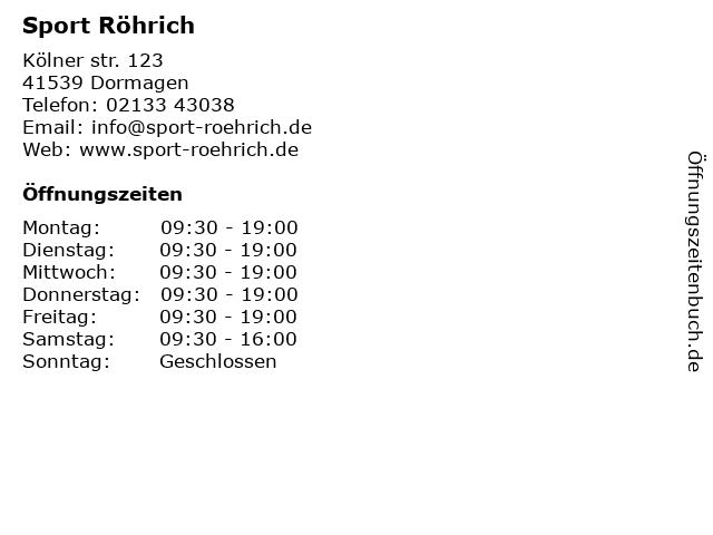 Sport Röhrich in Dormagen: Adresse und Öffnungszeiten