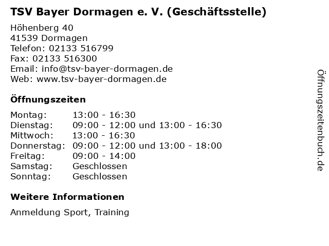 TSV Bayer Dormagen e. V. (Geschäftsstelle) in Dormagen: Adresse und Öffnungszeiten