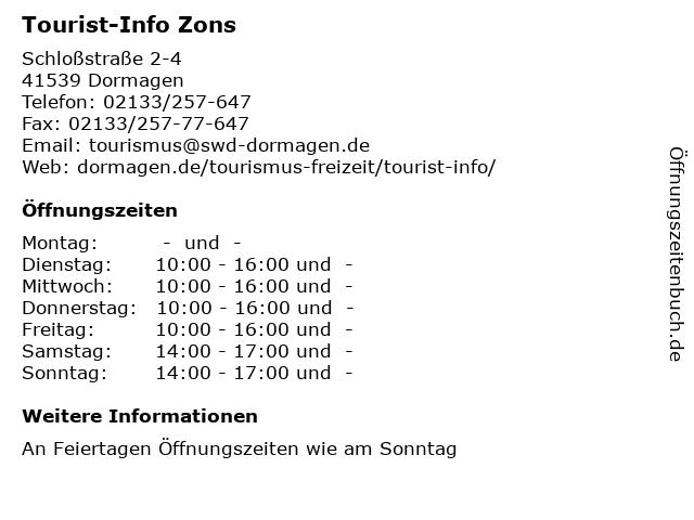 Tourist-Info Zons in Dormagen: Adresse und Öffnungszeiten