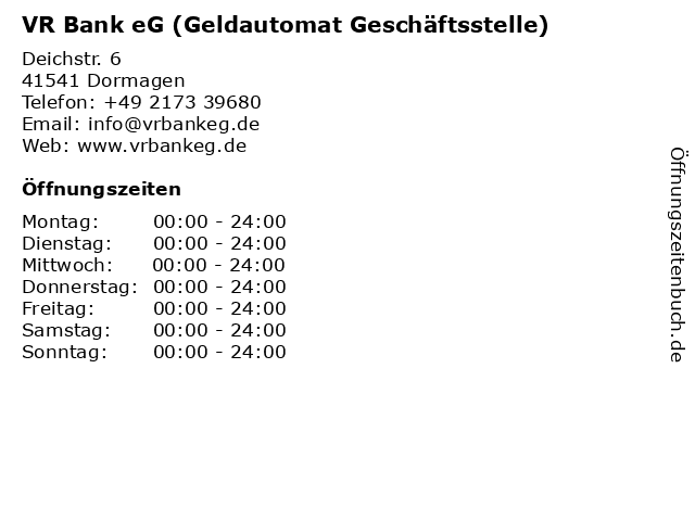 VR Bank eG (Geldautomat Geschäftsstelle) in Dormagen: Adresse und Öffnungszeiten