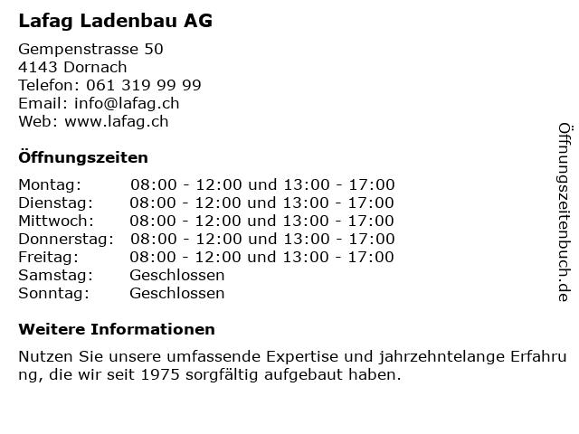 Lafag Schreinerei AG in Dornach: Adresse und Öffnungszeiten