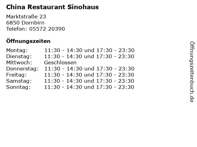 China Restaurant Sinohaus in Dornbirn: Adresse und Öffnungszeiten