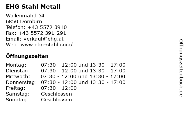 EHG Stahl Metall in Dornbirn: Adresse und Öffnungszeiten