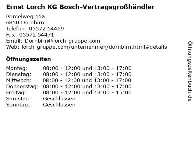 Ernst Lorch KG Bosch-Vertragsgroßhändler in Dornbirn: Adresse und Öffnungszeiten