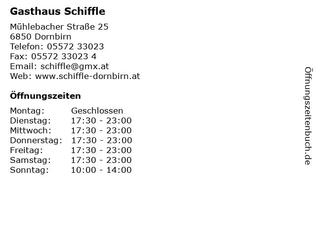Gasthaus Schiffle in Dornbirn: Adresse und Öffnungszeiten