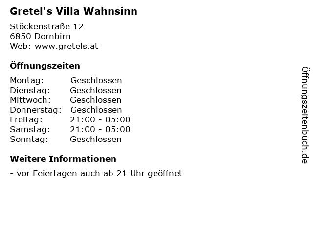 Gretel's Villa Wahnsinn in Dornbirn: Adresse und Öffnungszeiten