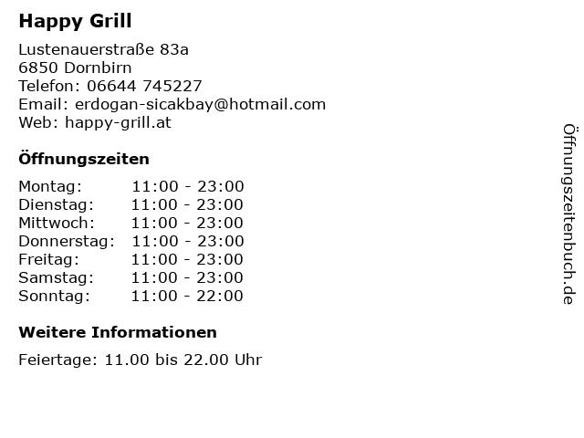 Happy Grill in Dornbirn: Adresse und Öffnungszeiten
