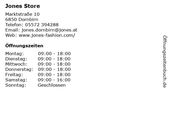 Jones Store in Dornbirn: Adresse und Öffnungszeiten