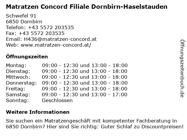 Matratzen Concord GmbH in Dornbirn: Adresse und Öffnungszeiten