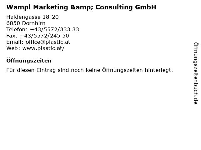 Wampl Marketing & Consulting GmbH in Dornbirn: Adresse und Öffnungszeiten