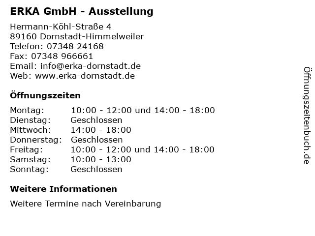 ERKA GmbH - Ausstellung in Dornstadt-Himmelweiler: Adresse und Öffnungszeiten