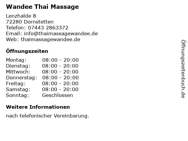 Wandee Thai Massage in Dornstetten: Adresse und Öffnungszeiten