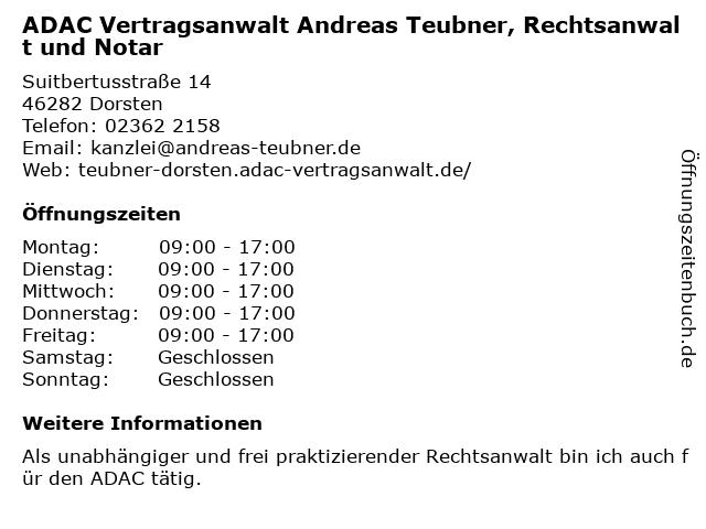 ADAC Vertragsanwalt Andreas Teubner, Rechtsanwalt und Notar in Dorsten: Adresse und Öffnungszeiten