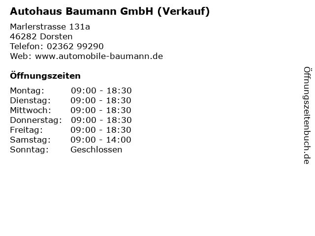 Autohaus Baumann GmbH (Verkauf) in Dorsten: Adresse und Öffnungszeiten