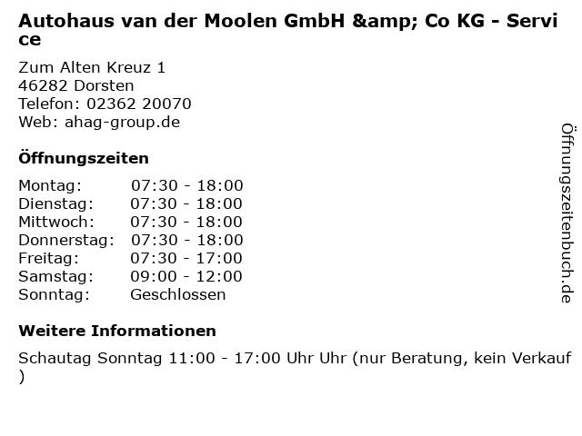Autohaus van der Moolen GmbH & Co KG - Service in Dorsten: Adresse und Öffnungszeiten