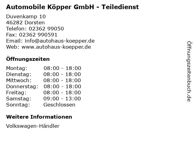 Automobile Köpper GmbH - Teiledienst in Dorsten: Adresse und Öffnungszeiten