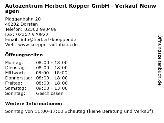Autozentrum Herbert Köpper GmbH - Verkauf Neuwagen in Dorsten: Adresse und Öffnungszeiten