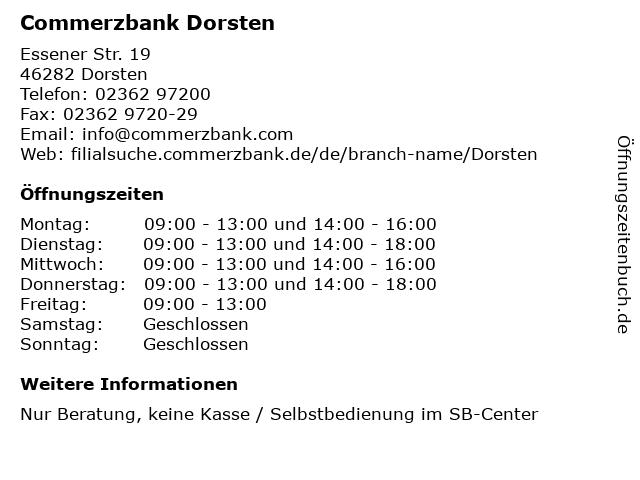 Commerzbank Dorsten in Dorsten: Adresse und Öffnungszeiten