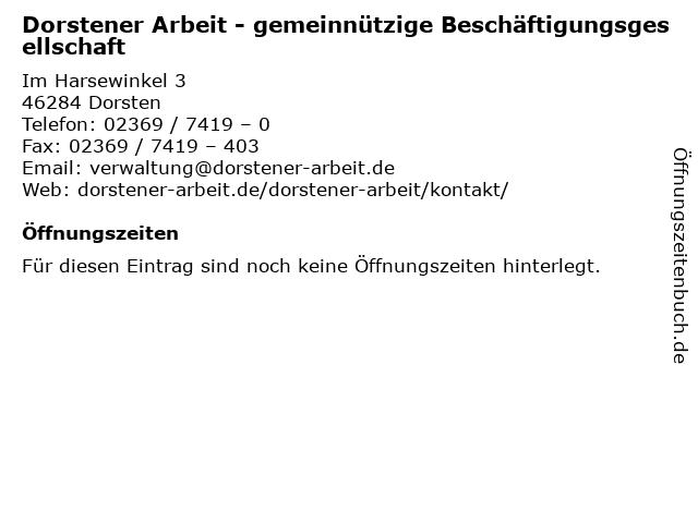 Dorstener Arbeit - gemeinnützige Beschäftigungsgesellschaft in Dorsten: Adresse und Öffnungszeiten