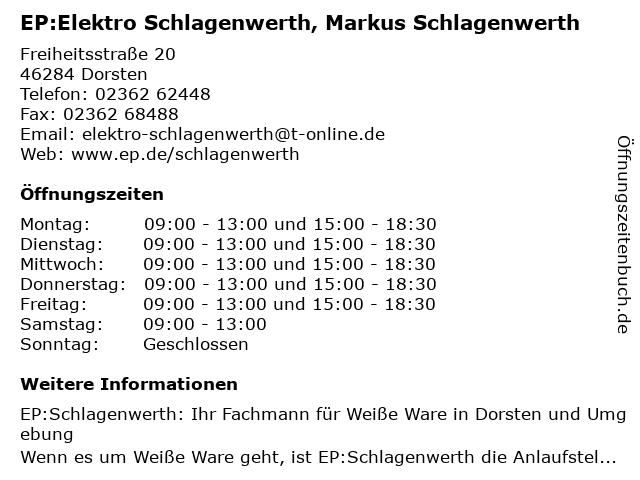 EP:Elektro Schlagenwerth in Dorsten: Adresse und Öffnungszeiten