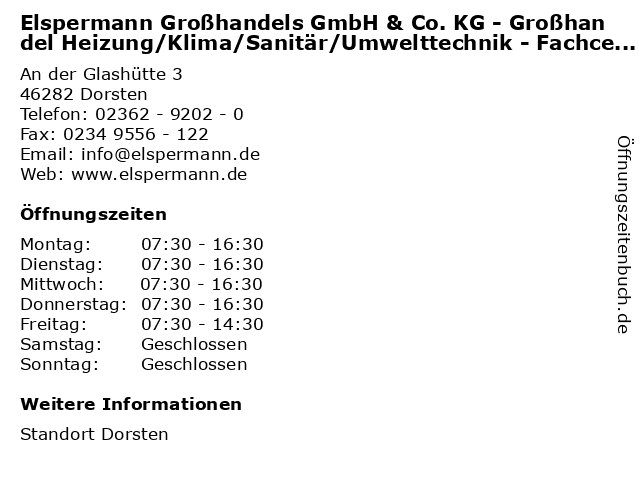 Elspermann Großhandels GmbH & Co. KG - Großhandel Heizung/Klima/Sanitär/Umwelttechnik - Fachcenter in Dorsten: Adresse und Öffnungszeiten