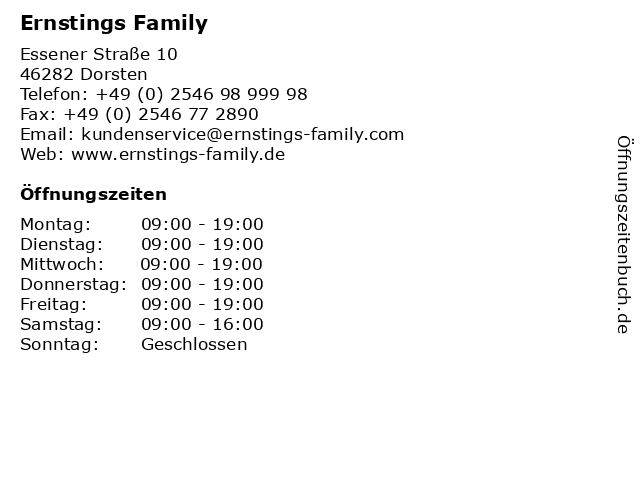 Ernstings Family in Dorsten: Adresse und Öffnungszeiten