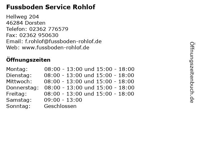 Fußboden Service F. Rohloff in Dorsten: Adresse und Öffnungszeiten