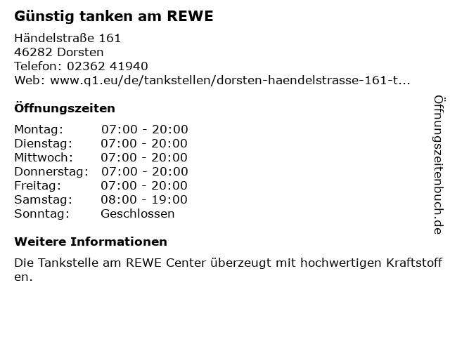 Günstig tanken am REWE in Dorsten: Adresse und Öffnungszeiten