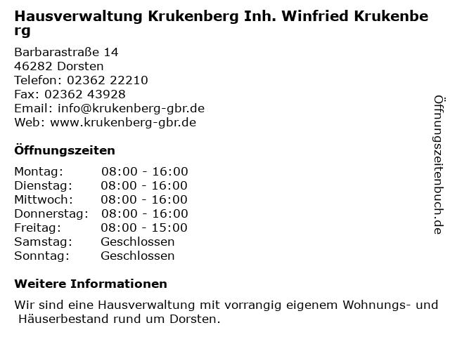 Hausverwaltung Krukenberg Inh. Winfried Krukenberg in Dorsten: Adresse und Öffnungszeiten
