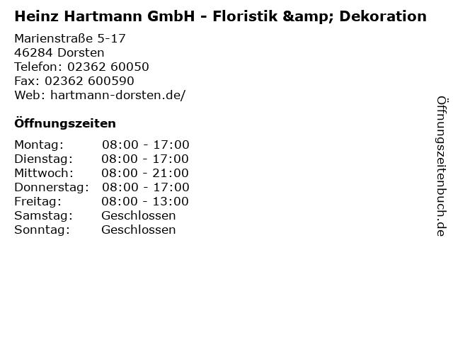Heinz Hartmann GmbH - Floristik & Dekoration in Dorsten: Adresse und Öffnungszeiten
