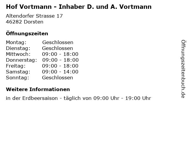 Hof Vortmann - Inhaber D. und A. Vortmann in Dorsten: Adresse und Öffnungszeiten