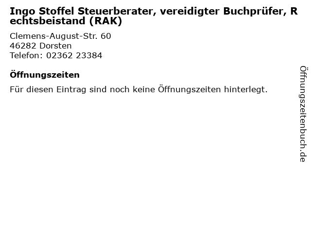 Ingo Stoffel Steuerberater, vereidigter Buchprüfer, Rechtsbeistand (RAK) in Dorsten: Adresse und Öffnungszeiten