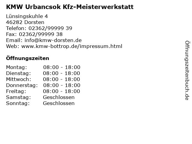 KMW Urbancsok Kfz-Meisterwerkstatt in Dorsten: Adresse und Öffnungszeiten