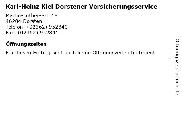 Karl-Heinz Kiel Dorstener Versicherungsservice in Dorsten: Adresse und Öffnungszeiten