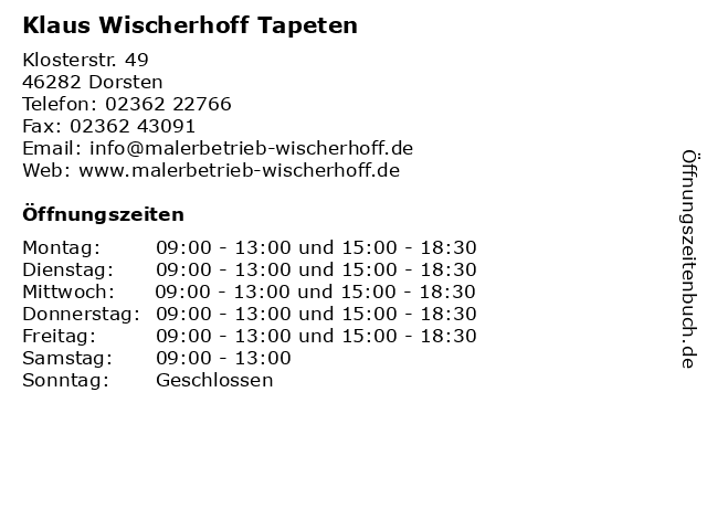 Klaus Wischerhoff Tapeten in Dorsten: Adresse und Öffnungszeiten