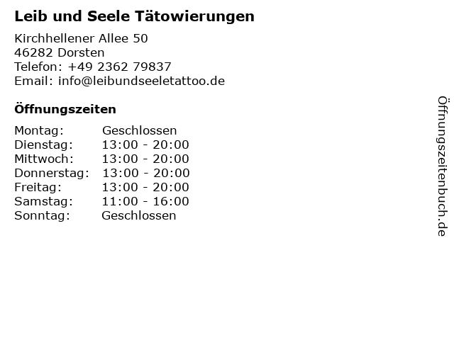 Leib und Seele Tätowierungen in Dorsten: Adresse und Öffnungszeiten