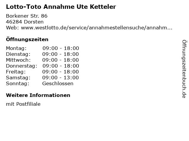 Lotto-Toto Annahme Ute Ketteler in Dorsten: Adresse und Öffnungszeiten